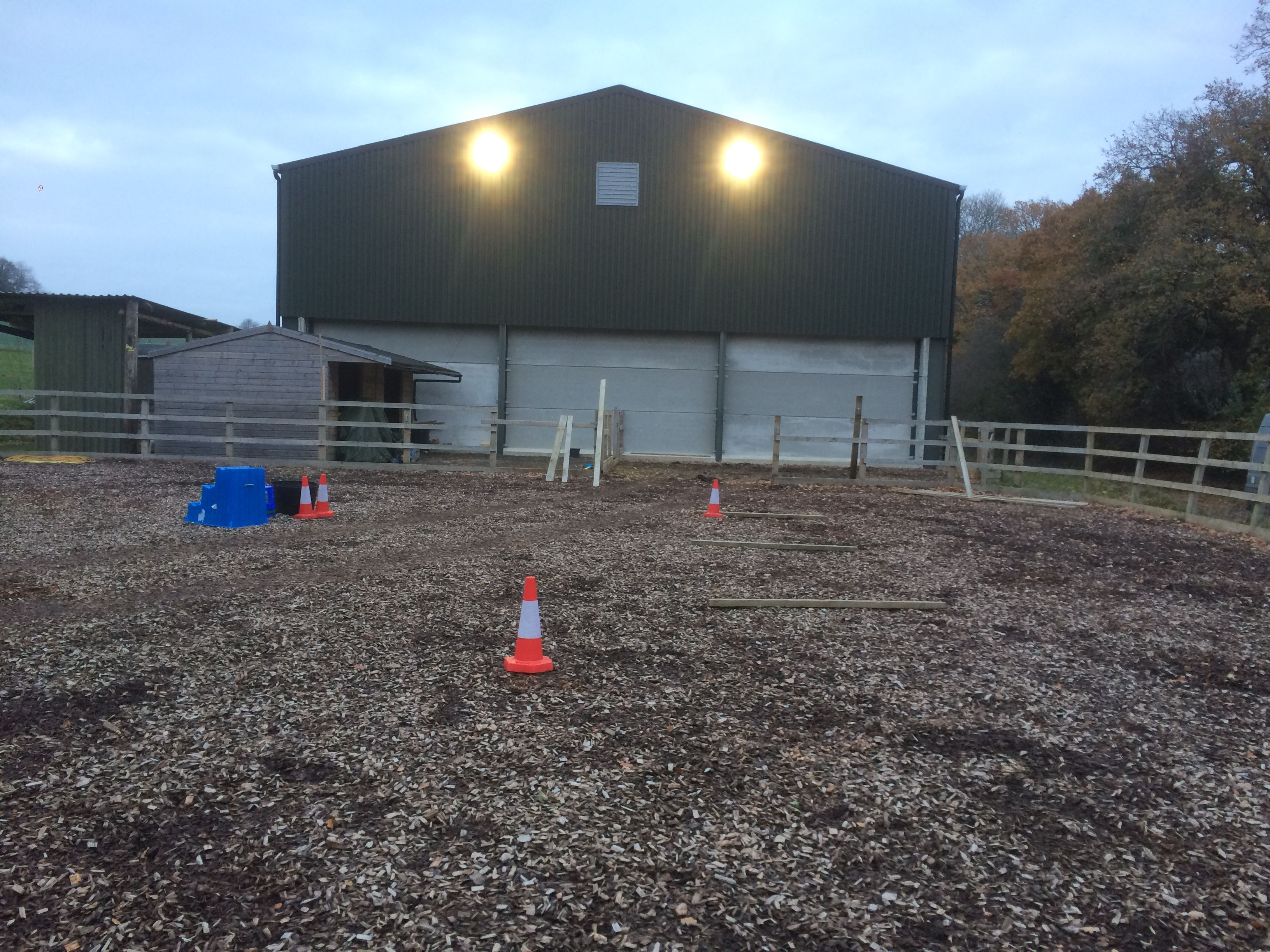 LED Floodlighting installed on a Barn to Illuminate a Horse Riding Arena